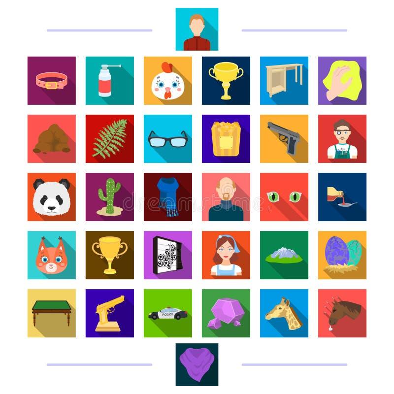 Toebehoren, hygiëne, textiel en ander Webpictogram in vlakke stijl hoofd, dier, verwezenlijkingen, pictogrammen in vastgestelde i vector illustratie