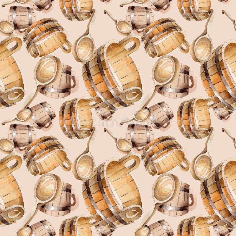 Toebehoren van sauna en kuuroordillustratie Naadloos patroon als achtergrond stock illustratie