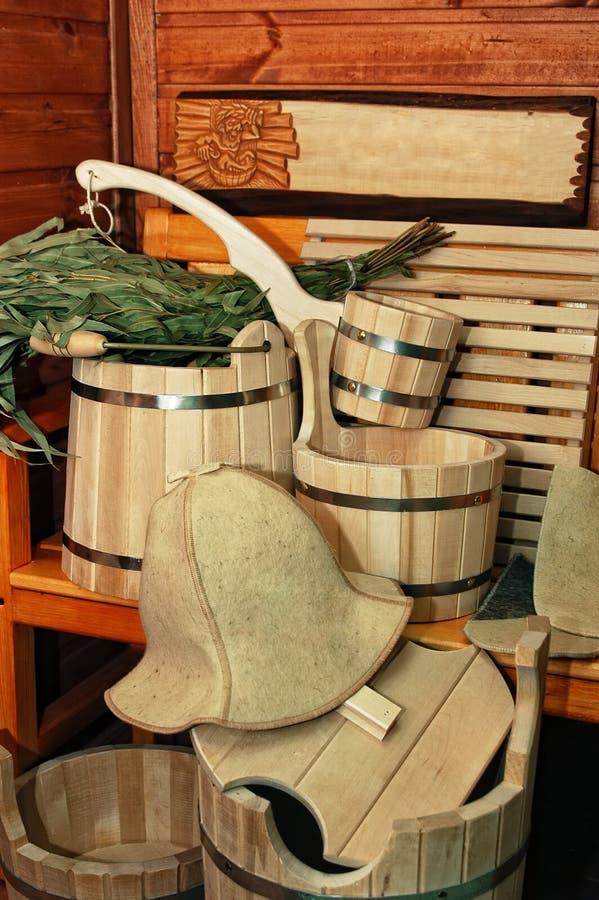 Toebehoren voor sauna royalty-vrije stock foto's