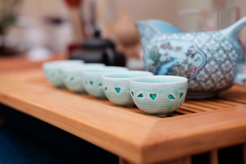 Toebehoren voor traditionele Chinese thee stock foto