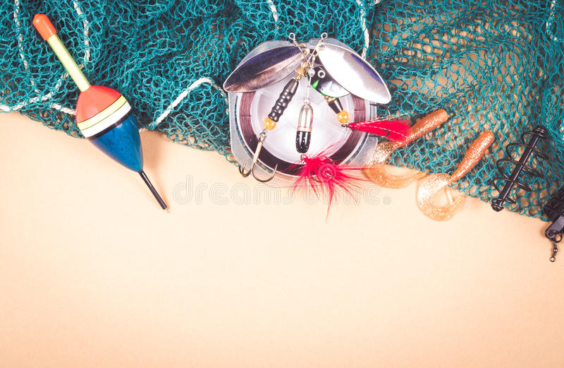 Toebehoren voor visserij Vissend aas stock fotografie