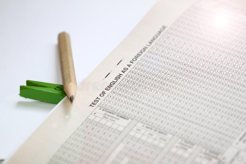 TOEFL答案纸,托福试验用纸样 托福检查 托福实践问题 英国了解 库存照片
