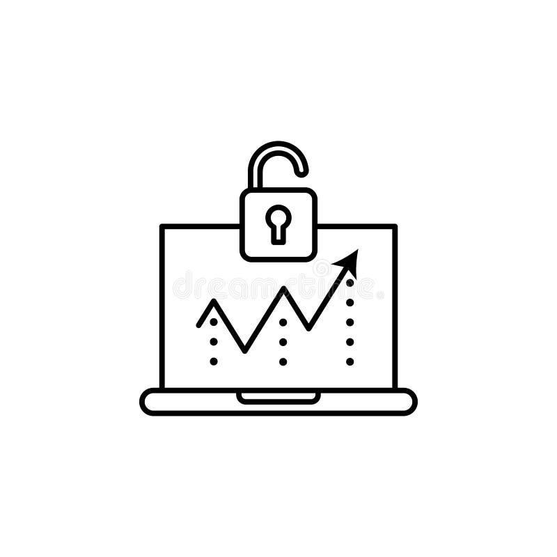 Toegang, breukenpictogram Element van het algemene pictogram van het gegevensproject voor mobiel concept en Web apps De dunne lij stock illustratie