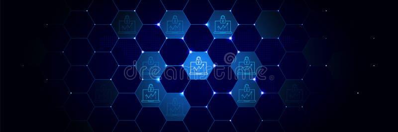 Toegang, breukenpictogram van Algemeen die gegevensproject in technologisch wordt geplaatst stock illustratie