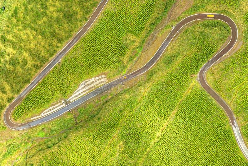Toegangsweg van het Cotopaxi de Nationale Park de Antenne van de Vluchtelingshommel stock afbeelding