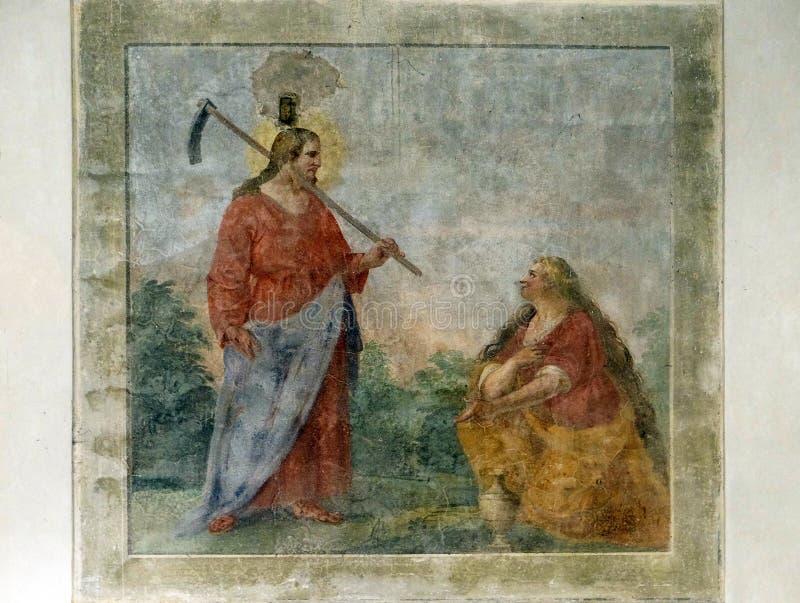 Toegenomen Christus die aan St Mary Magdalene, Basiliekdi Santa Croce in Florence verschijnen royalty-vrije stock foto's