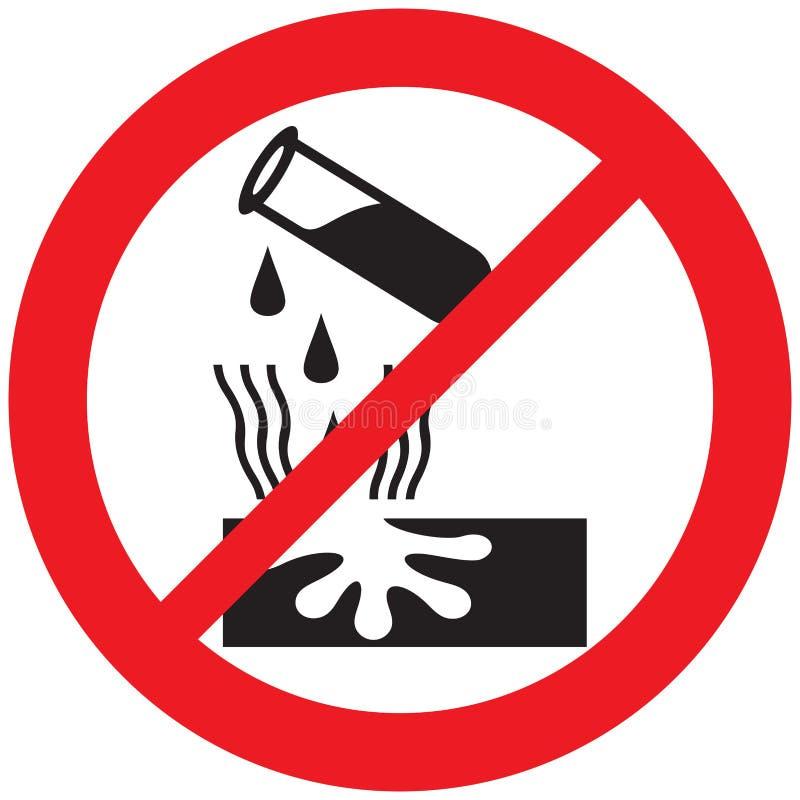 Toegestane niet teken van de gevaars het corrosieve waarschuwing stock illustratie