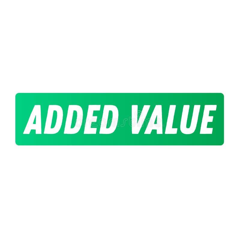 Toegevoegde waarde reclamesticker stock illustratie
