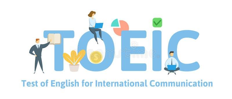 TOEIC, angielszczyzny dla Międzynarodowej komunikacji Pojęcie z słowami kluczowymi, listami i ikonami, Płaska wektorowa ilustracj royalty ilustracja