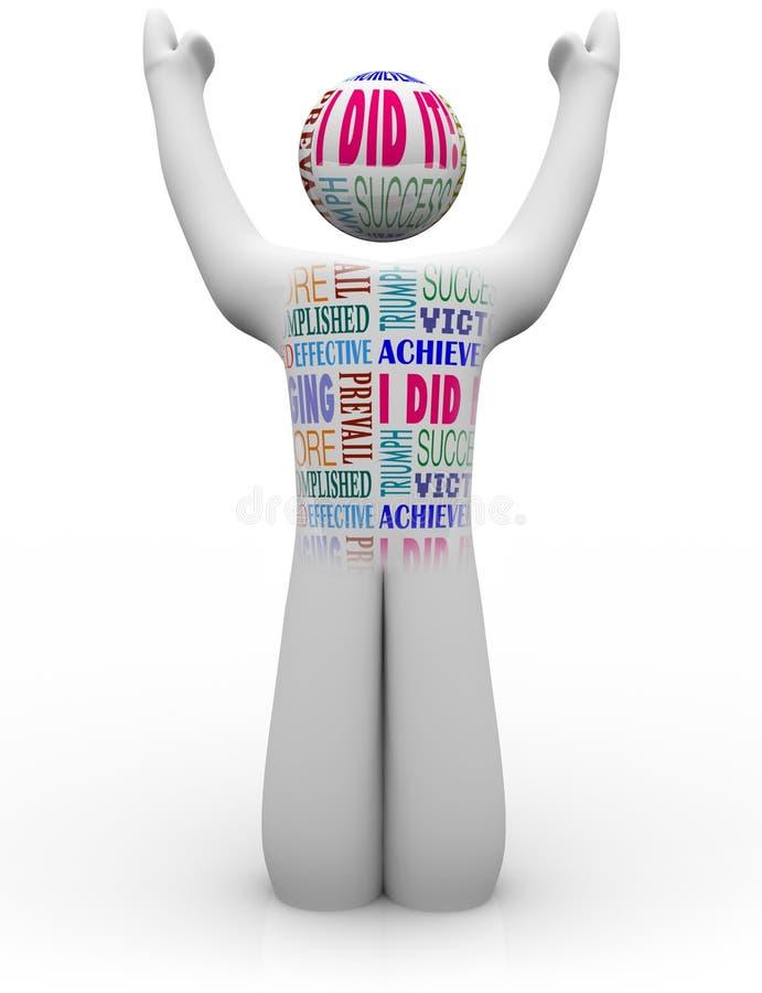 Toejuichende Persoon met de Verwezenlijking van de Woorden van het Succes stock illustratie