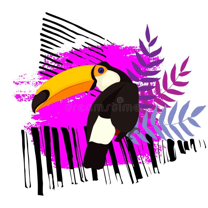 Toekan op een abstracte achtergrond vector illustratie