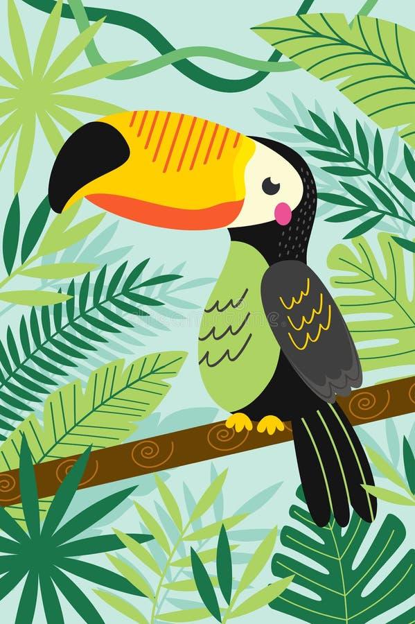 Toekan op tak onder tropische installaties royalty-vrije illustratie