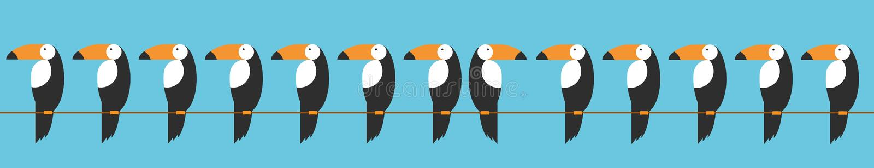 Toekannen geplaatst pictogram Beeldverhaalillustratie van toekan vectorpictogram voor Web Concept dierlijke gedragsdiversiteit op vector illustratie