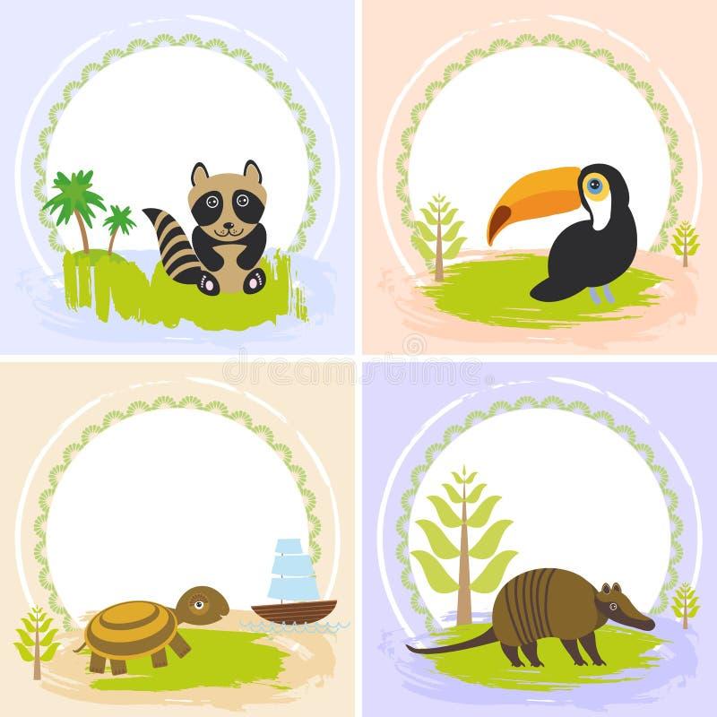 Toekanvogel, wasbeer, schildpad, gordeldier, reeks van kaartenontwerp stock illustratie