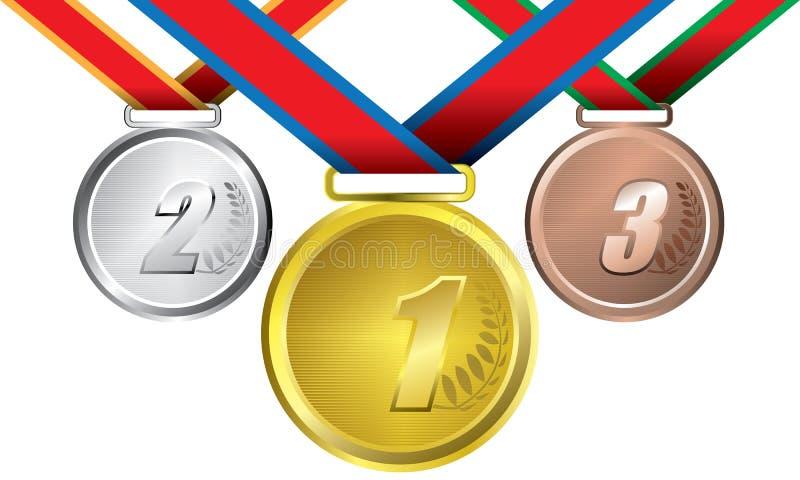 Toekenning als medailles - goud, zilver en brons stock illustratie