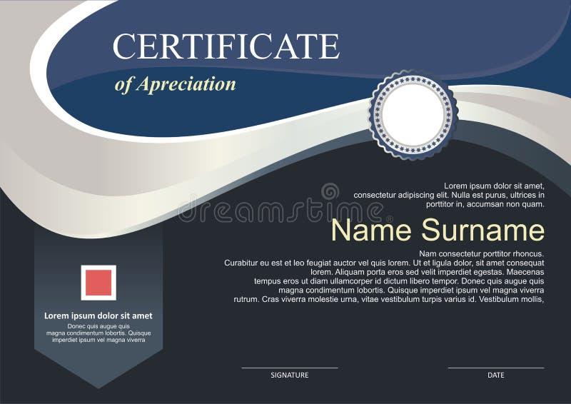 Toekenning - Diplomamalplaatje met modern ontwerp stock illustratie