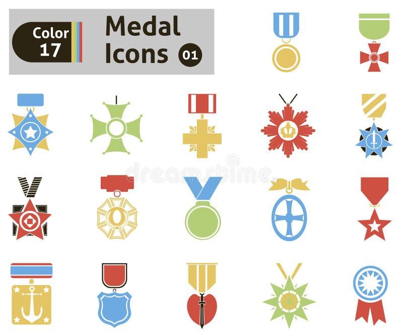 Toekenning en medaillepictogrammen stock illustratie