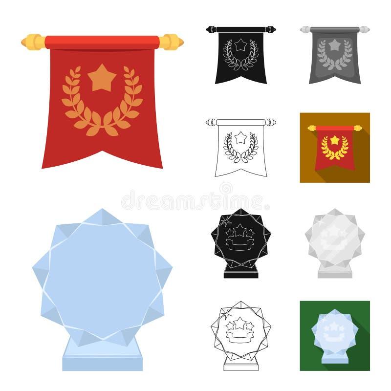 Toekenning en trofeeënbeeldverhaal, zwarte, vlak, zwart-wit, overzichtspictogrammen in vastgestelde inzameling voor ontwerp Belon royalty-vrije illustratie