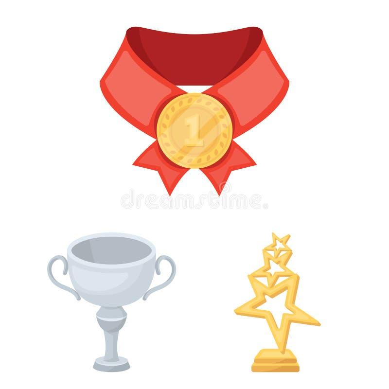 Toekenning en trofeeënbeeldverhaalpictogrammen in vastgestelde inzameling voor ontwerp Beloning en voltooiings het vectorweb van  vector illustratie