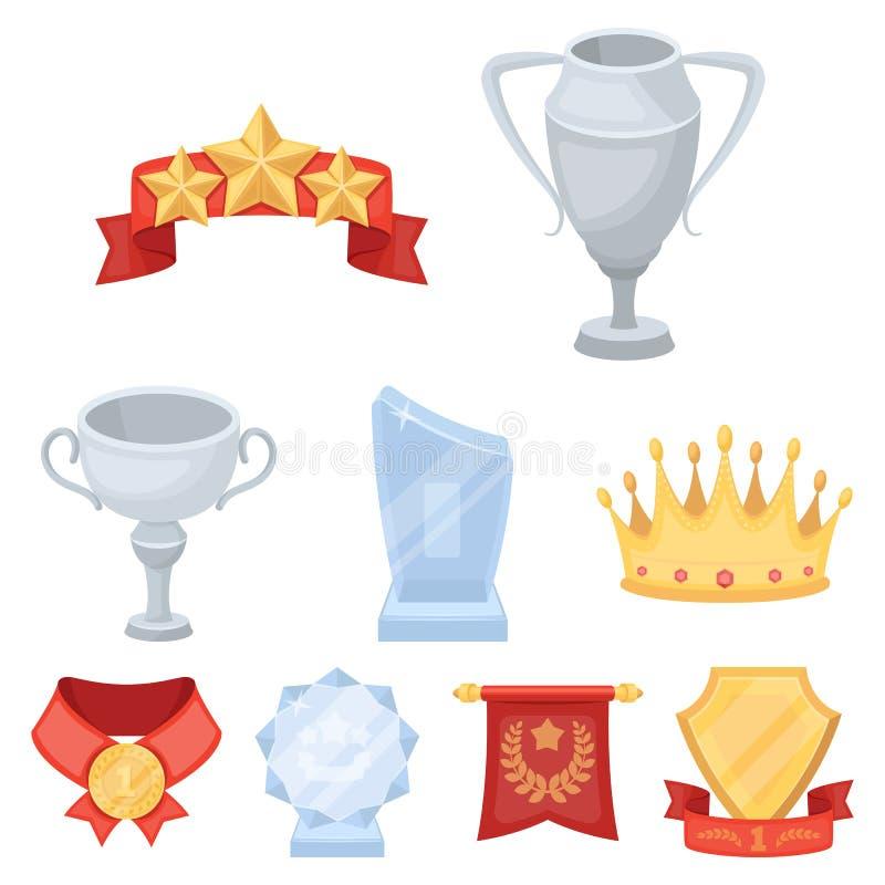 Toekenning, gouden medailles en koppen als prijzen in competities en competities Toekenning en trofeeënpictogram in vastgestelde  vector illustratie