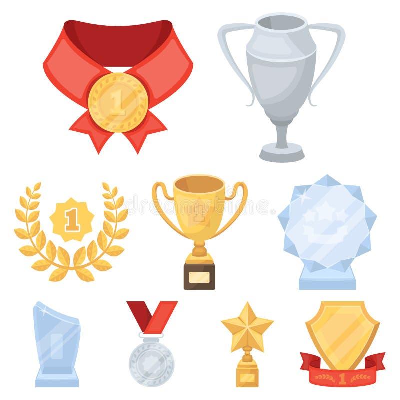 Toekenning, gouden medailles en koppen als prijzen in competities en competities Toekenning en trofeeënpictogram in vastgestelde  royalty-vrije illustratie