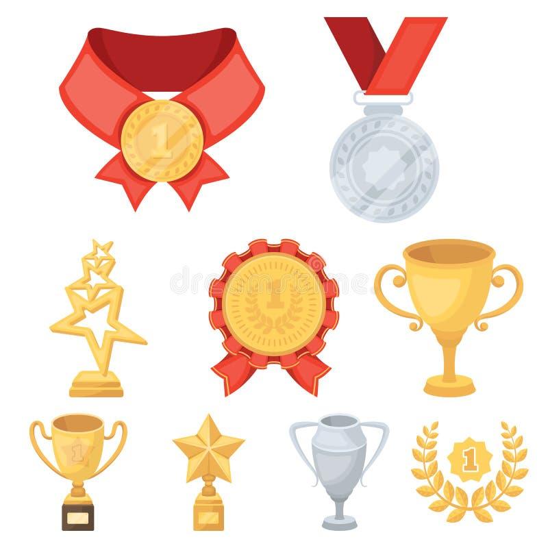 Toekenning, gouden medailles en koppen als prijzen in competities en competities Toekenning en trofeeënpictogram in vastgestelde  stock illustratie