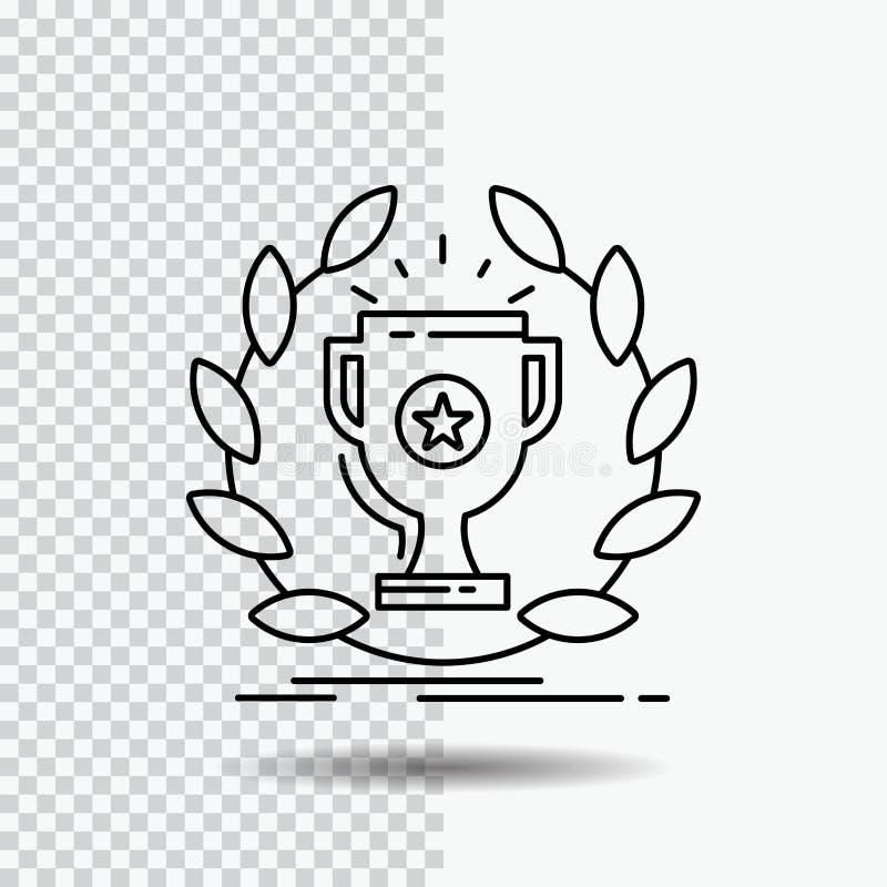 toekenning, kop, prijs, beloning, het Pictogram van de overwinningslijn op Transparante Achtergrond Zwarte pictogram vectorillust vector illustratie