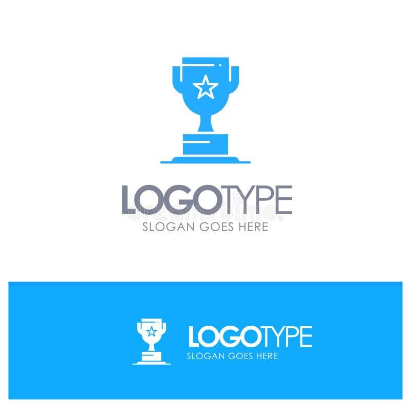 Toekenning, Kop, Zaken, Marketing Blauw Stevig Embleem met plaats voor tagline royalty-vrije illustratie