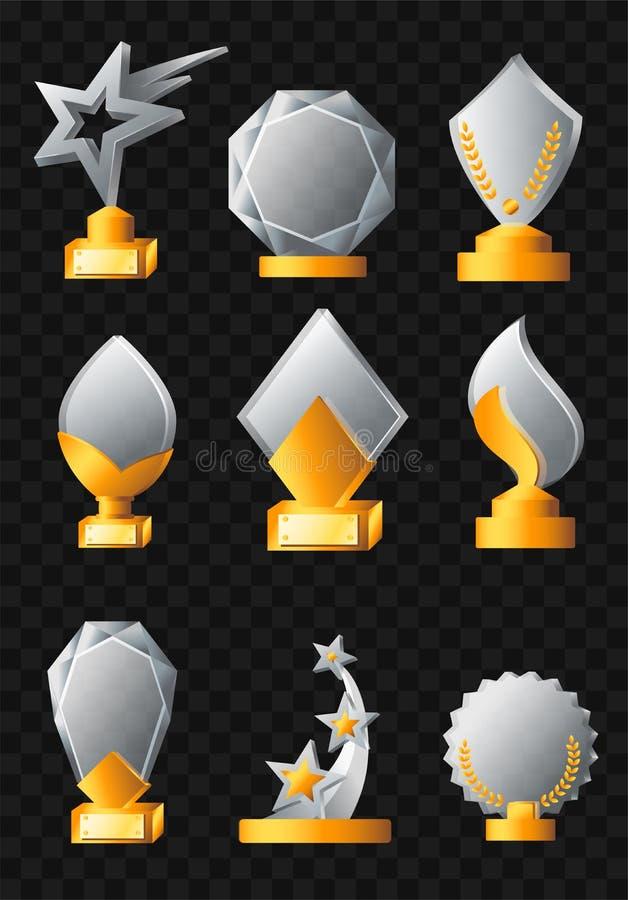 Toekenning - realistische vectorreeks trofeeën royalty-vrije illustratie