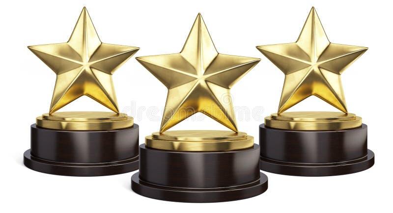 Toekenning van de drie de Gouden sterrentrofee op wit vector illustratie