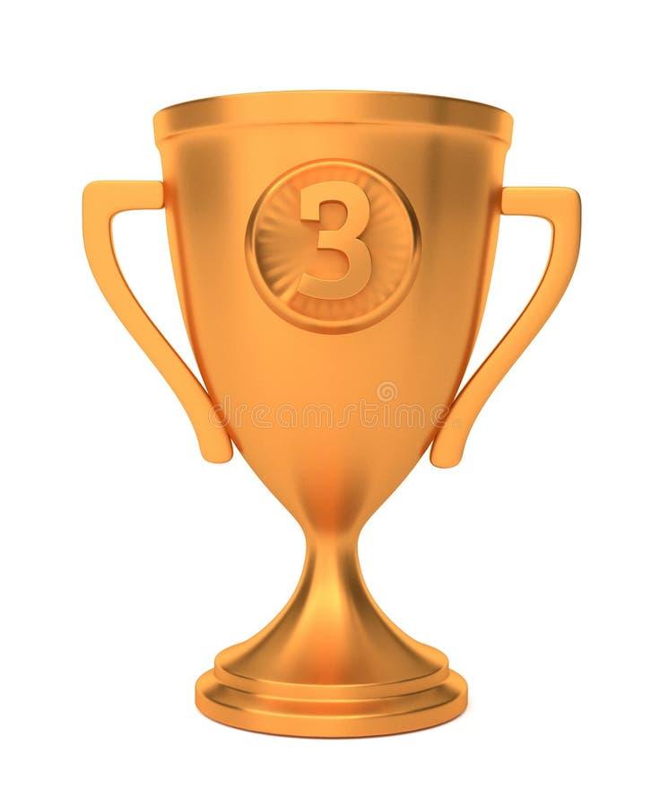 Toekenning van de de winnaar de derde plaats van de bronskop op wit wordt geïsoleerd dat 3d geef terug royalty-vrije illustratie
