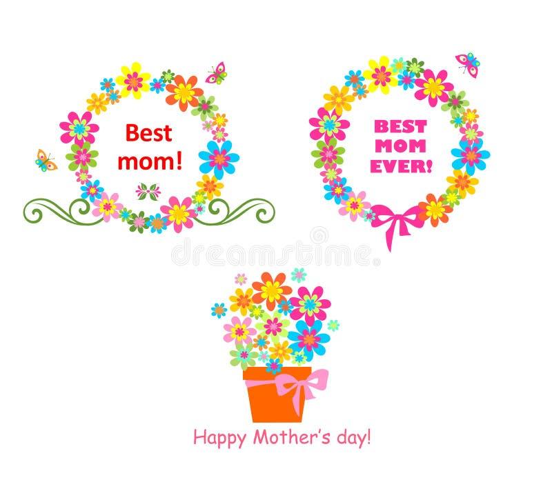 Toekenning voor mamma met bloemen vector illustratie