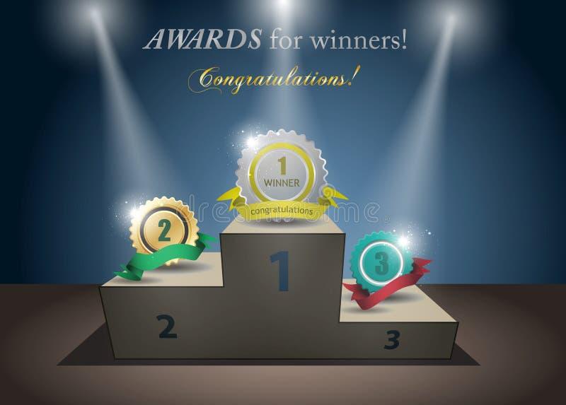 Toekenning voor winnaars vector illustratie