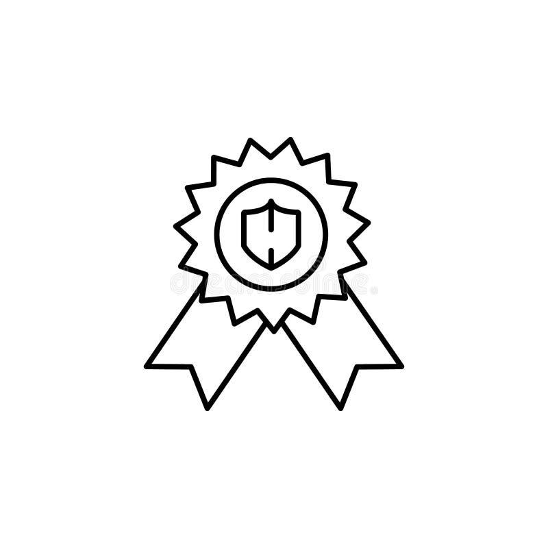Toekenning, waarborgpictogram Element van het algemene pictogram van het gegevensproject voor mobiel concept en Web apps De dunne stock illustratie