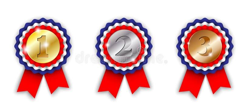 Toekenningslinten, 1st, 2de en 3de plaats vector illustratie
