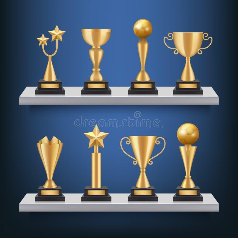 Toekenningsplanken Trofeeënmedailles en koppen op boekenrek vector realistisch concept de winnaars van de sportconcurrentie royalty-vrije illustratie