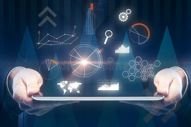 Toekomst, communicatie en financiënconcept stock foto
