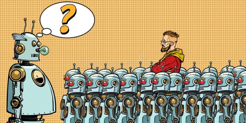 toekomst De keus tussen robots en mensen vector illustratie