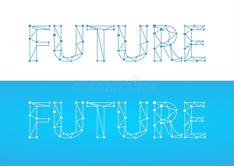 Toekomst - titel in blauwe kleur die op witte en blauwe kleur wordt geïsoleerd vector illustratie
