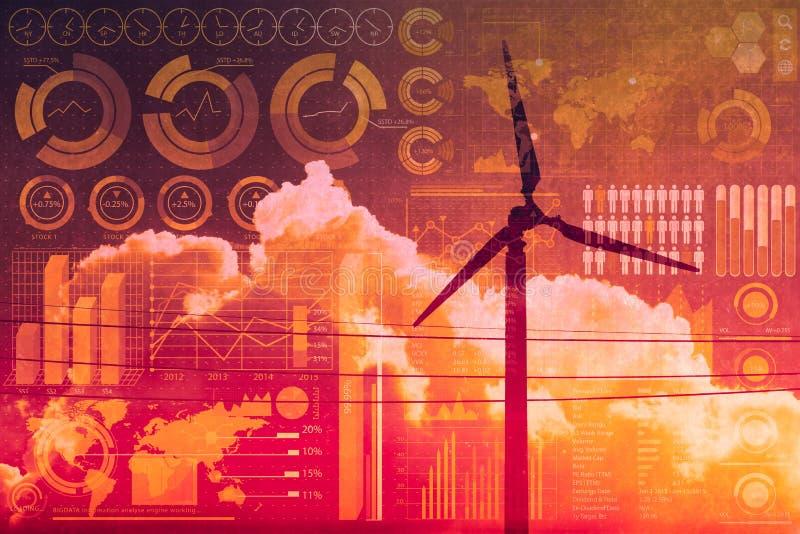 Toekomst van macht en technologie, windturbine met bedrijfsmengelingsmedia bekleding stock afbeelding