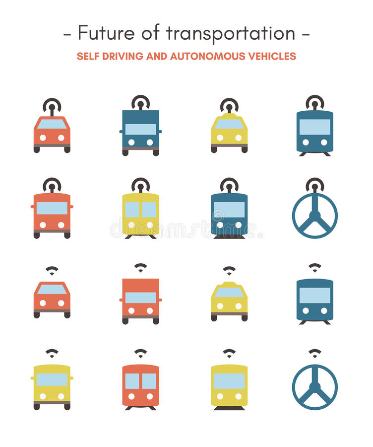 Toekomst van Vlakke vervoerspictogrammen -, pixel perfecte, gekleurde pictogrammen vector illustratie