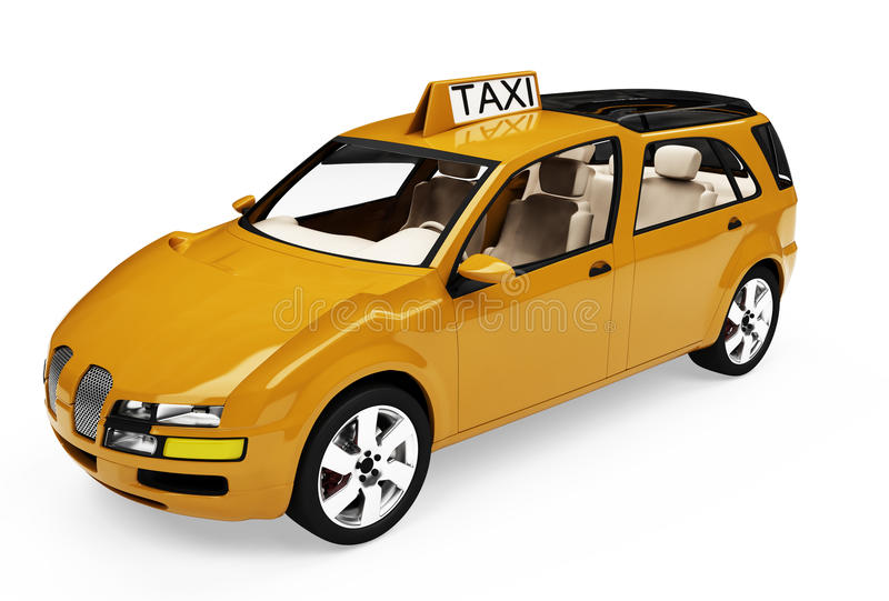 Toekomstig concept taxiauto geïsoleerdet mening vector illustratie