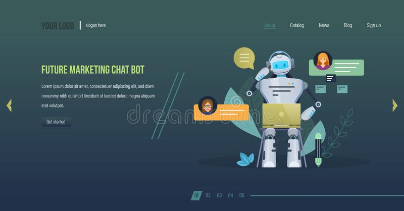 Toekomstig marketing praatje bot De wetenschaps toekomstig, financieel overleg van de innovatietechnologie vector illustratie
