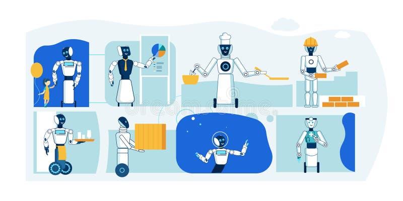 Toekomstig Robotberoep Humanoid Vlakke Inzameling royalty-vrije illustratie