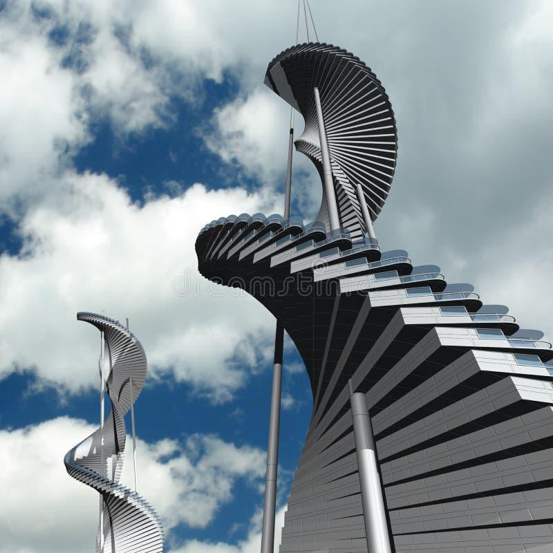 Toekomstige architectuur royalty-vrije illustratie