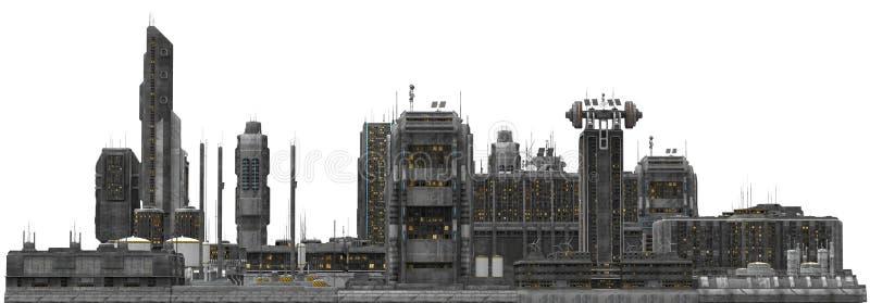 Toekomstige die Cityscape op Witte 3D Illustratie wordt geïsoleerd royalty-vrije stock afbeelding