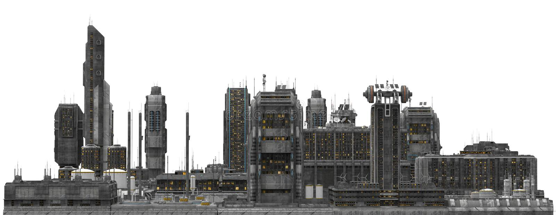 Toekomstige die Cityscape op Witte 3D Illustratie wordt geïsoleerd stock illustratie