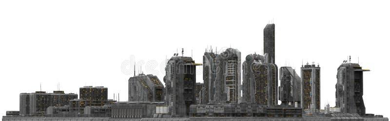 Toekomstige die Cityscape op Witte 3D Illustratie wordt geïsoleerd royalty-vrije stock fotografie