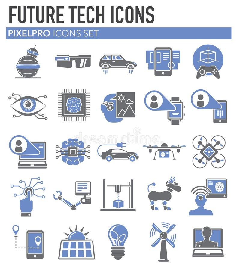 Toekomstige die technologieënpictogrammen op witte achtergrond voor grafisch en Webontwerp worden geplaatst, Modern eenvoudig vec royalty-vrije illustratie
