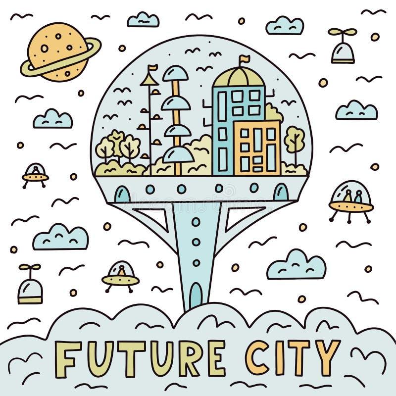 Toekomstige doodle steden royalty-vrije illustratie